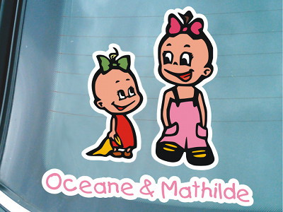 Colored Siblings Sticker