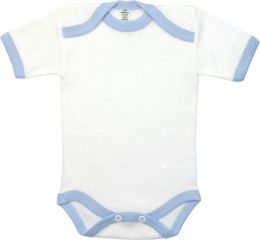 Baby Bodysuit short, Baby Body - White / Blue