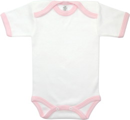 Baby Bodysuit short, Baby Body - White / Pink