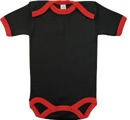 Baby Bodysuit short, Baby Body - Black / Red